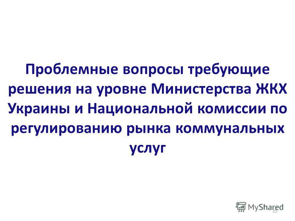 Проблемные вопросы требующие решения на уровне Министерства ЖКХ Украины и Национальной комиссии по регулированию рынка коммунальных услуг 25