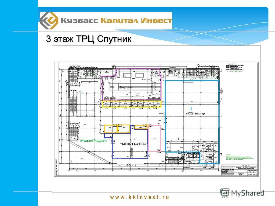 w w w. k k i n v e s t. r u 3 этаж ТРЦ Спутник