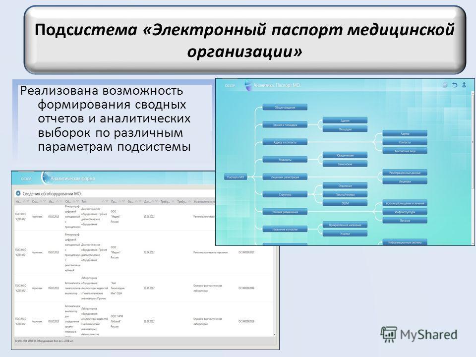 Реализована возможность формирования сводных отчетов и аналитических выборок по различным параметрам подсистемы Подсистема «Электронный паспорт медицинской организации»