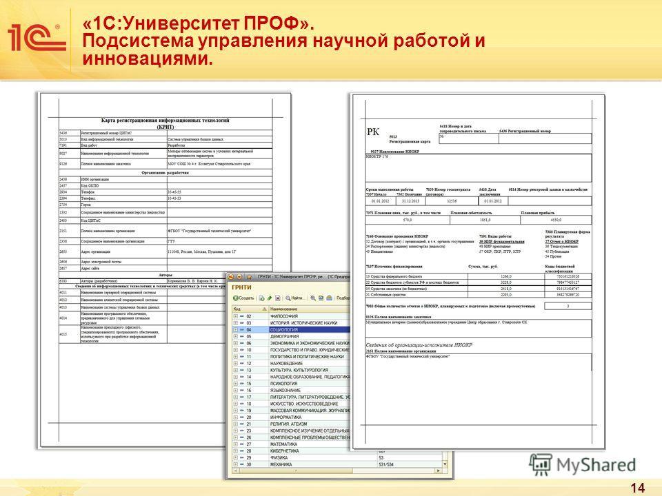 14 «1С:Университет ПРОФ». Подсистема управления научной работой и инновациями.