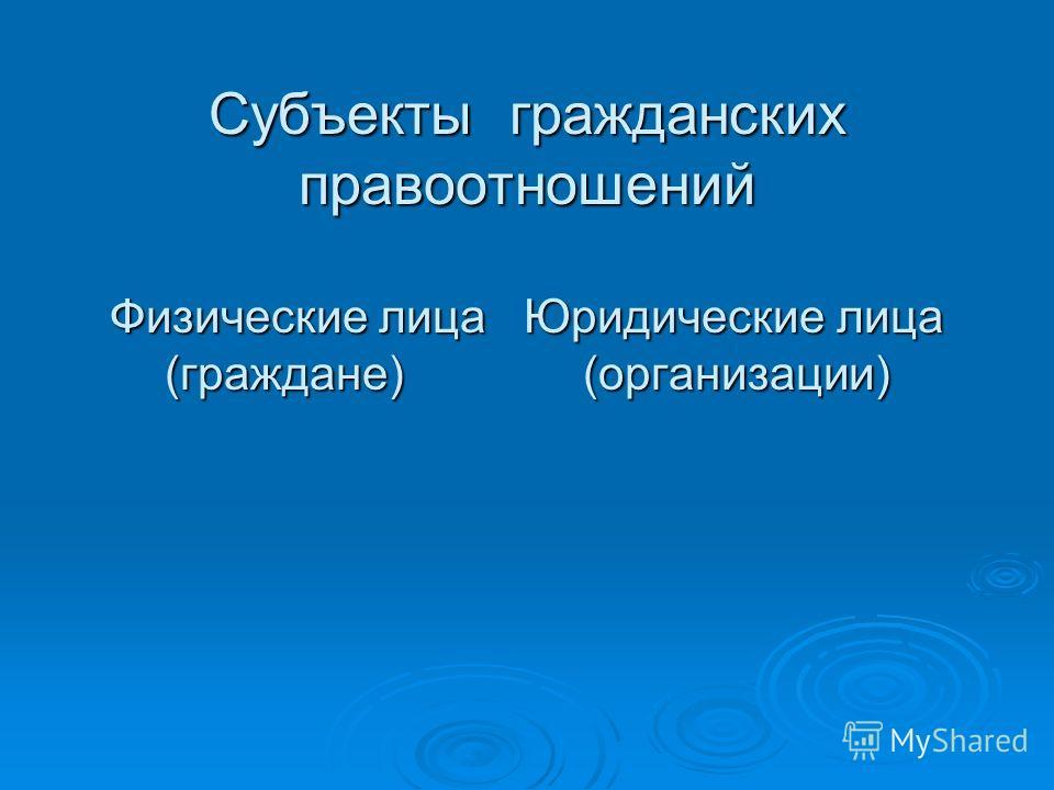 Субъекты гражданских правоотношений Физические лица Юридические лица (граждане) (организации)