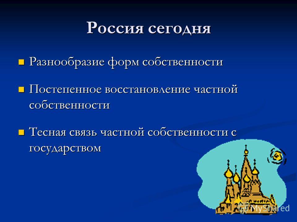 Россия сегодня Разнообразие форм собственности Разнообразие форм собственности Постепенное восстановление частной собственности Постепенное восстановление частной собственности Тесная связь частной собственности с государством Тесная связь частной со