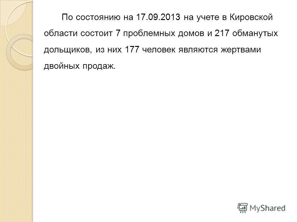 По состоянию на 17.09.2013 на учете в Кировской области состоит 7 проблемных домов и 217 обманутых дольщиков, из них 177 человек являются жертвами двойных продаж.