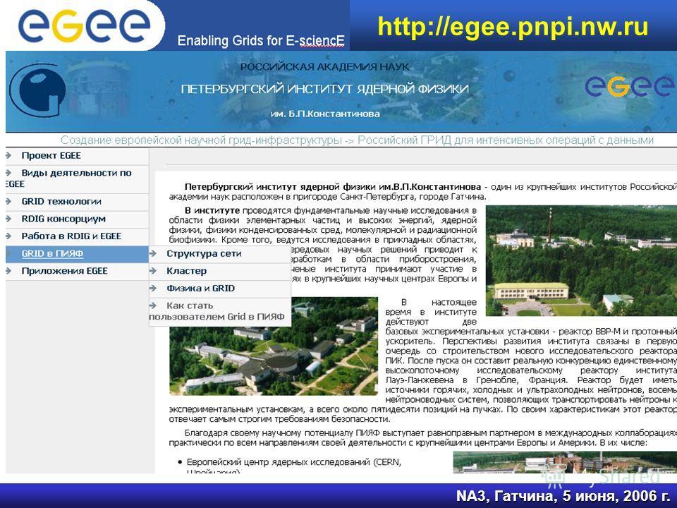 NA3, Гатчина, 5 июня, 2006 г. http://egee.pnpi.nw.ru