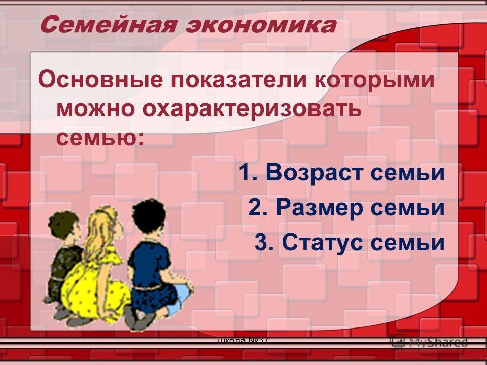 Семейная экономика Основные показатели которыми можно охарактеризовать семью: 1.Возраст семьи 2.Размер семьи 3.Статус семьи школа 37
