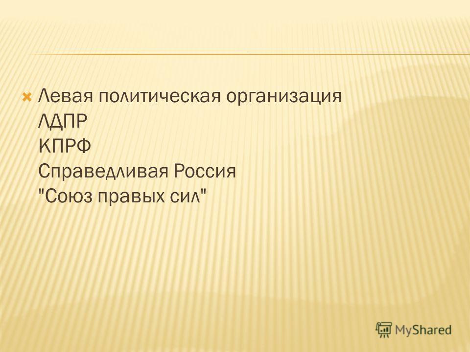 Левая политическая организация ЛДПР КПРФ Справедливая Россия Союз правых сил