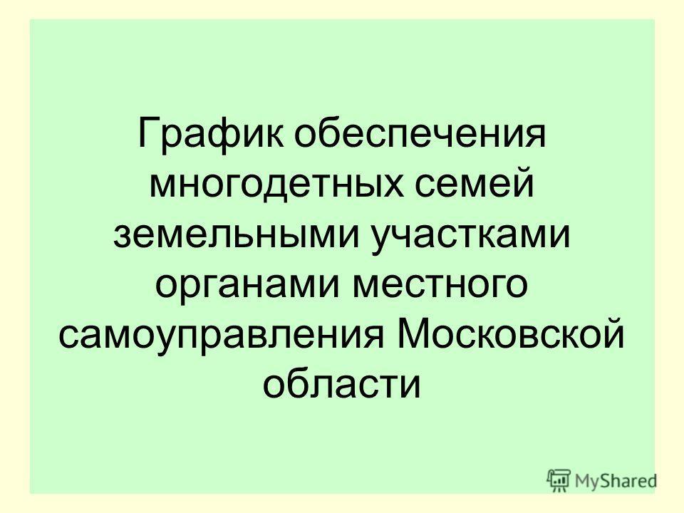 График обеспечения многодетных семей земельными участками органами местного самоуправления Московской области