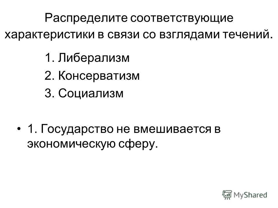 Распределите соответствующие характеристики в связи со взглядами течений. 1. Либерализм 2. Консерватизм 3. Социализм 1. Государство не вмешивается в экономическую сферу.