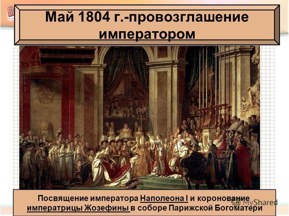 Май 1804 г.-провозглашение императором Посвящение императора Наполеона I и коронование императрицы Жозефины в соборе Парижской Богоматери