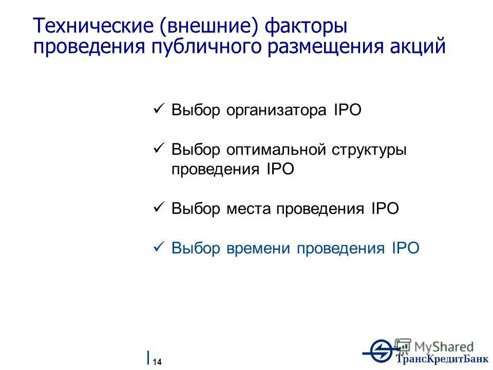 Технические (внешние) факторы проведения публичного размещения акций Выбор организатора IPO Выбор оптимальной структуры проведения IPO Выбор места проведения IPO Выбор времени проведения IPO 14