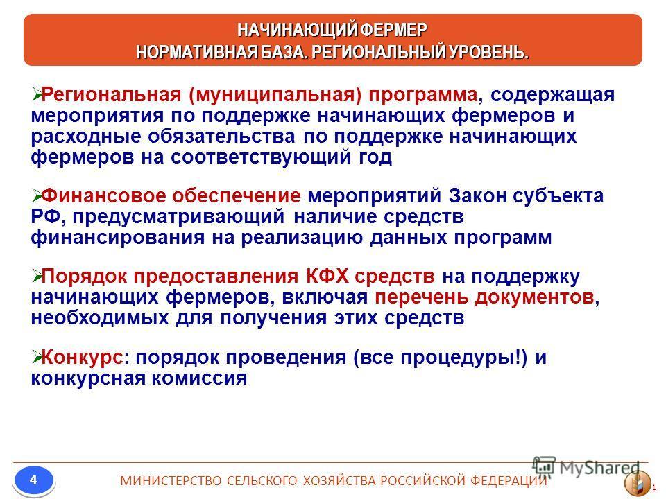 4 Региональная (муниципальная) программа, содержащая мероприятия по поддержке начинающих фермеров и расходные обязательства по поддержке начинающих фермеров на соответствующий год Финансовое обеспечение мероприятий Закон субъекта РФ, предусматривающи