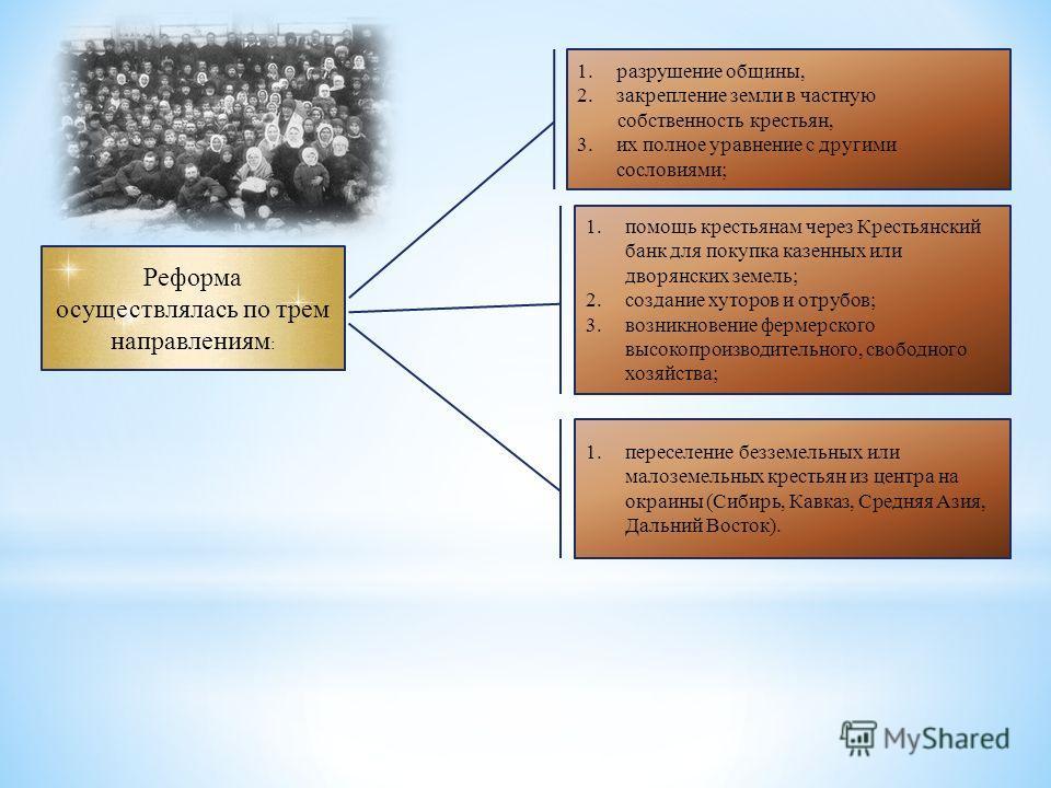 Реформа осуществлялась по трем направлениям : 1.разрушение общины, 2.закрепление земли в частную собственность крестьян, 3.их полное уравнение с другими сословиями; 1.помощь крестьянам через Крестьянский банк для покупка казенных или дворянских земел