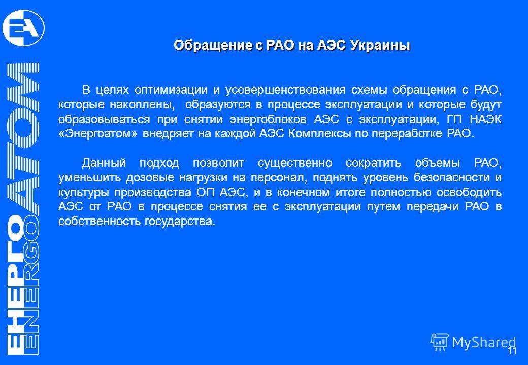 Обращение с РАО на АЭС Украины В целях оптимизации и усовершенствования схемы обращения с РАО, которые накоплены, образуются в процессе эксплуатации и которые будут образовываться при снятии энергоблоков АЭС с эксплуатации, ГП НАЭК «Энергоатом» внедр