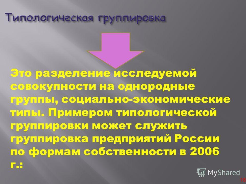 16 Это разделение исследуемой совокупности на однородные группы, социально-экономические типы. Примером типологической группировки может служить группировка предприятий России по формам собственности в 2006 г.: