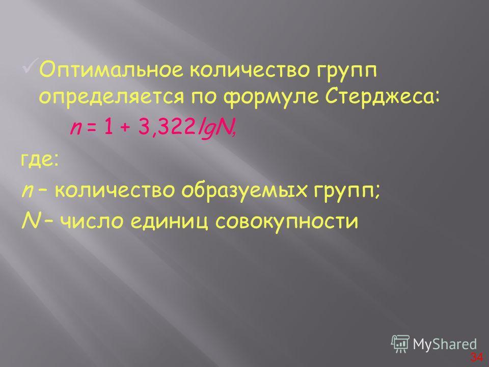 Оптимальное количество групп определяется по формуле Стерджеса: n = 1 + 3,322lgN, г де : n – количество образуемых групп; N – число единиц совокупности 34