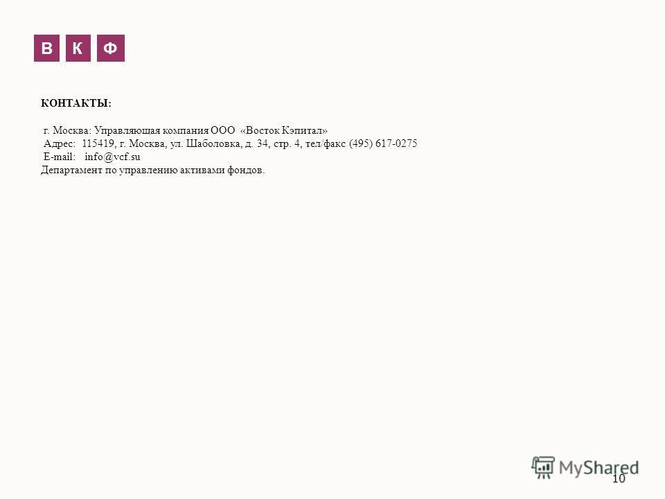 КОНТАКТЫ: г. Москва: Управляющая компания ООО «Восток Кэпитал» Адрес: 115419, г. Москва, ул. Шаболовка, д. 34, стр. 4, тел/факс (495) 617-0275 E-mail: info@vcf.su Департамент по управлению активами фондов. ВКФ 10