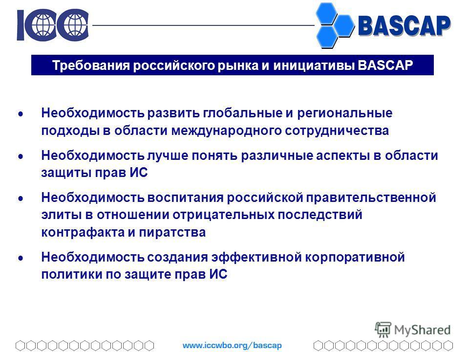 Требования российского рынка и инициативы BASCAP Необходимость развить глобальные и региональные подходы в области международного сотрудничества Необходимость лучше понять различные аспекты в области защиты прав ИС Необходимость воспитания российской