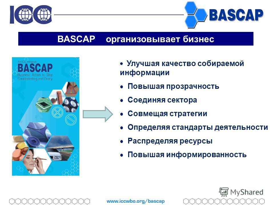 BASCAP организовывает бизнес Улучшая качество собираемой информации Повышая прозрачность Соединяя сектора Совмещая стратегии Определяя стандарты деятельности Распределяя ресурсы Повышая информированность