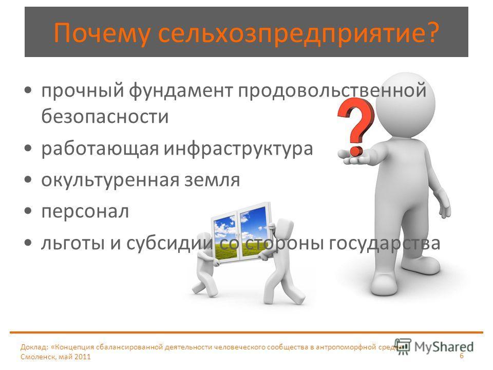 Доклад: «Концепция сбалансированной деятельности человеческого сообщества в антропоморфной среде» Смоленск, май 2011 6 Почему сельхозпредприятие? прочный фундамент продовольственной безопасности работающая инфраструктура окультуренная земля персонал