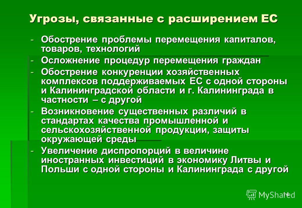 14 Угрозы, связанные с расширением ЕС -Обострение проблемы перемещения капиталов, товаров, технологий -Осложнение процедур перемещения граждан -Обострение конкуренции хозяйственных комплексов поддерживаемых ЕС с одной стороны и Калининградской област