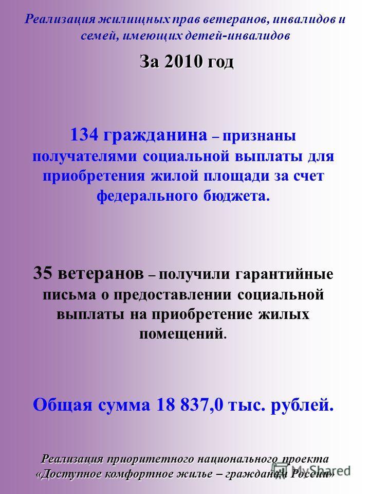 Реализация жилищных прав ветеранов, инвалидов и семей, имеющих детей-инвалидов Реализация приоритетного национального проекта «Доступное комфортное жилье – гражданам России» 134 гражданина – признаны получателями социальной выплаты для приобретения ж