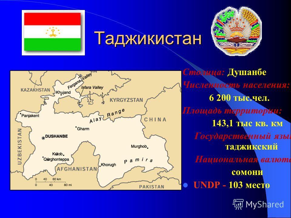 Казахстан Столица: Астана Численность населения: 14 952420 чел. Площадь территории: 2 700 тыс. кв км. Государственный язык: казахский Национальная валюта: тенге UNDP - 75 место