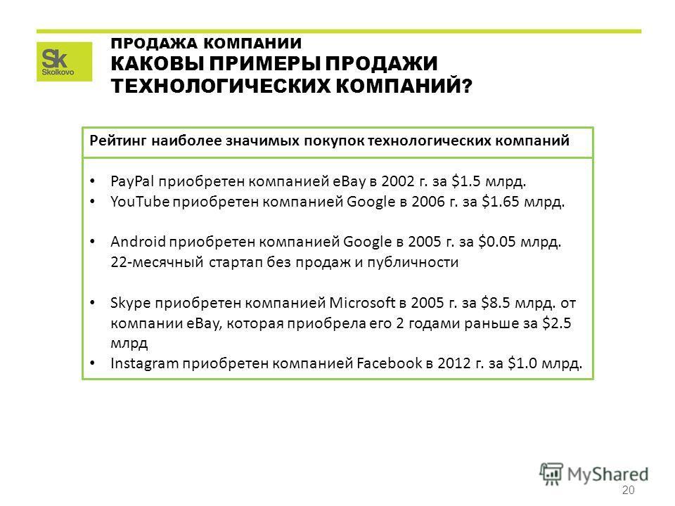 20 ПРОДАЖА КОМПАНИИ КАКОВЫ ПРИМЕРЫ ПРОДАЖИ ТЕХНОЛОГИЧЕСКИХ КОМПАНИЙ? Рейтинг наиболее значимых покупок технологических компаний PayPal приобретен компанией eBay в 2002 г. за $1.5 млрд. YouTube приобретен компанией Google в 2006 г. за $1.65 млрд. Andr