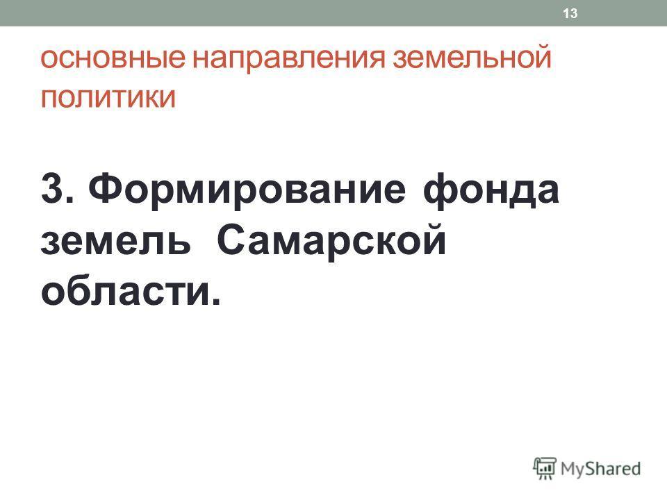 основные направления земельной политики 3. Формирование фонда земель Самарской области. 13