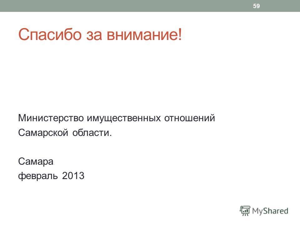 Спасибо за внимание! Министерство имущественных отношений Самарской области. Самара февраль 2013 59