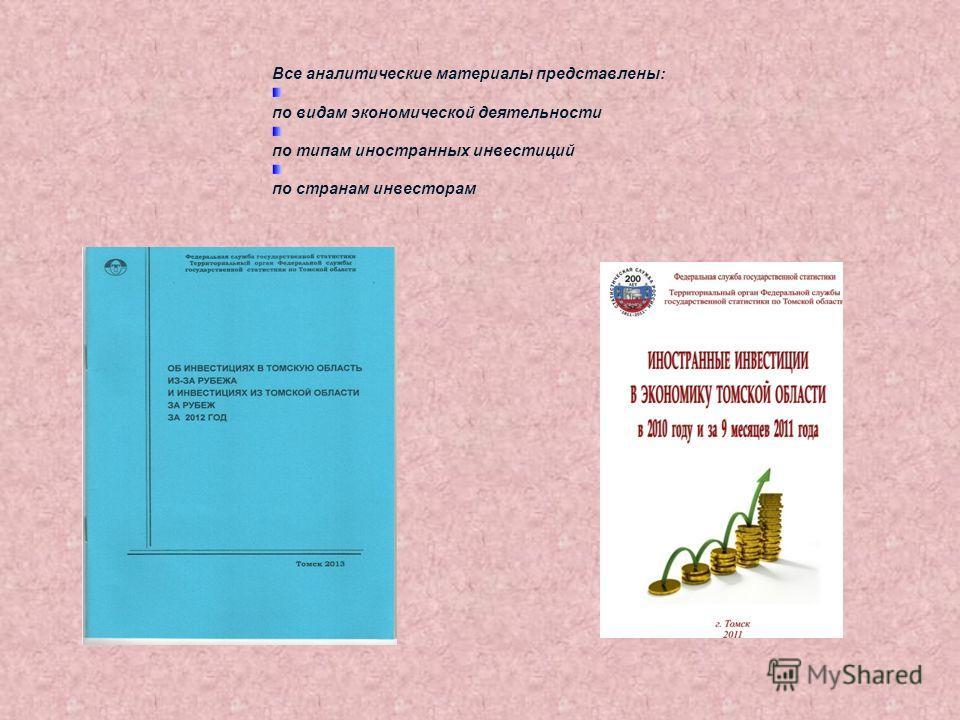 Все аналитические материалы представлены: по видам экономической деятельности по типам иностранных инвестиций по странам инвесторам