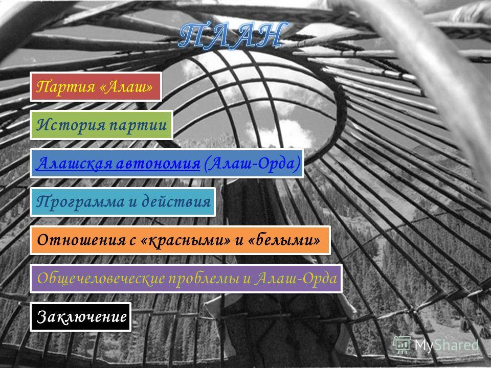 Партия «Алаш» История партии Алашская автономия (Алаш-Орда)автономия Алашская автономия (Алаш-Орда)автономия Программа и действия Отношения с «красными» и «белыми» Заключение