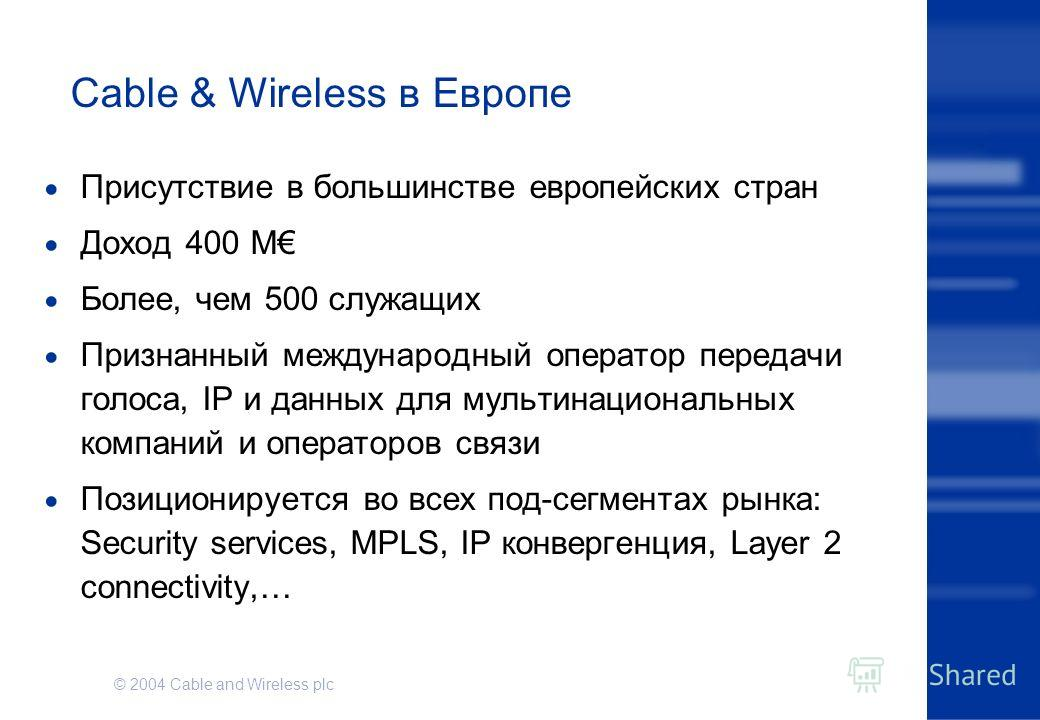 © 2004 Cable and Wireless plc Cable & Wireless в Европе Присутствие в большинстве европейских стран Доход 400 M Более, чем 500 служащих Признанный международный оператор передачи голоса, IP и данных для мультинациональных компаний и операторов связи