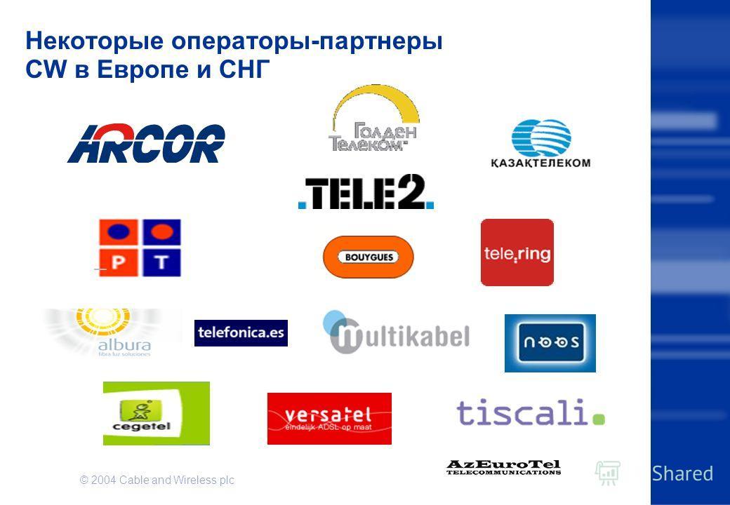 © 2004 Cable and Wireless plc Некоторые операторы-партнеры CW в Европе и СНГ