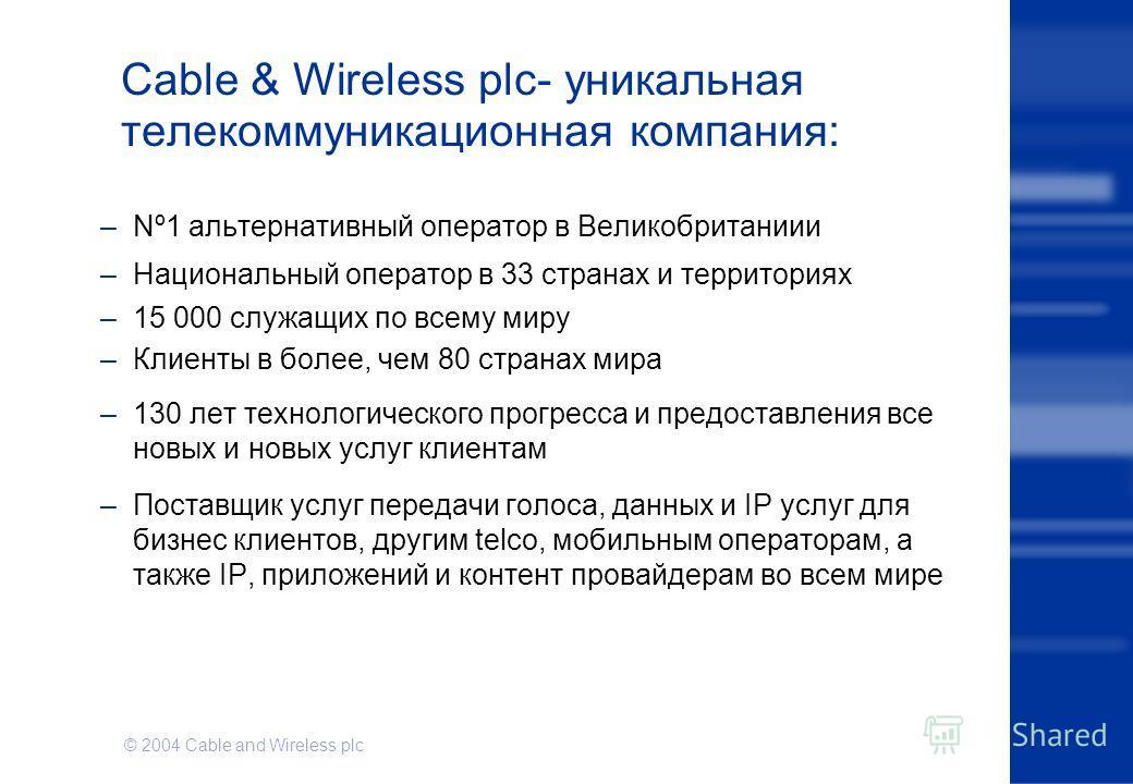 © 2004 Cable and Wireless plc Cable & Wireless plc- уникальная телекоммуникационная компания: –Nº1 альтернативный оператор в Великобританиии –Национальный оператор в 33 странах и территориях –15 000 служащих по всему миру –Клиенты в более, чем 80 стр