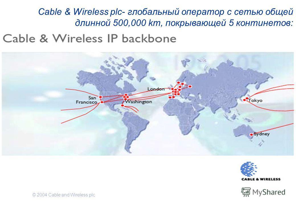 © 2004 Cable and Wireless plc Cable & Wireless plc- глобальный оператор с сетью общей длинной 500,000 km, покрывающей 5 континетов: