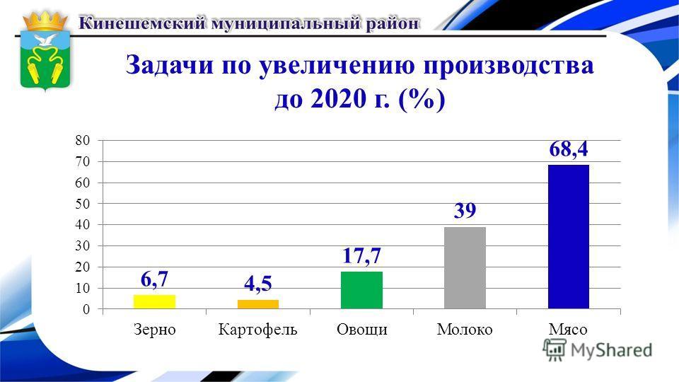 Задачи по увеличению производства до 2020 г. (%)