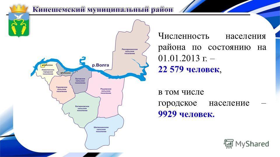 Численность населения района по состоянию на 01.01.2013 г. – 22 579 человек, в том числе городское население – 9929 человек.