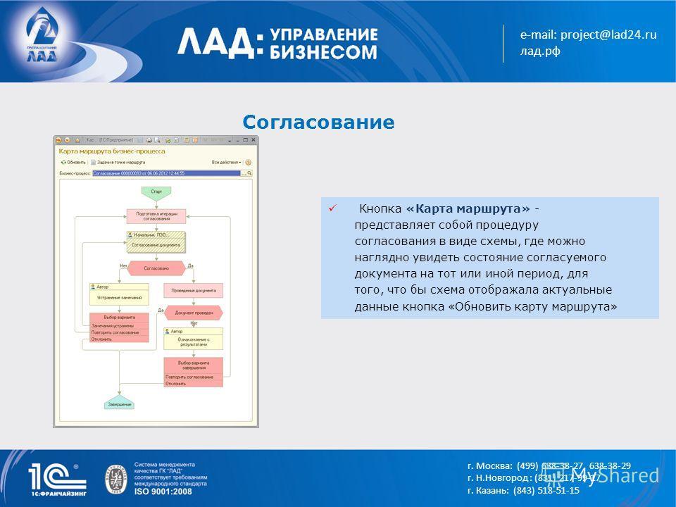 e-mail: project@lad24.ru лад.рф Согласование Кнопка «Карта маршрута» - представляет собой процедуру согласования в виде схемы, где можно наглядно увидеть состояние согласуемого документа на тот или иной период, для того, что бы схема отображала актуа