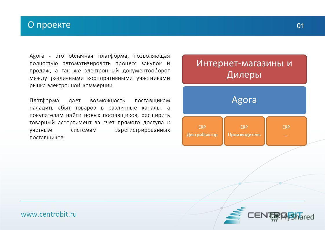 www.centrobit.ru О проекте 01 Agora - это облачная платформа, позволяющая полностью автоматизировать процесс закупок и продаж, а так же электронный документооборот между различными корпоративными участниками рынка электронной коммерции. Платформа дае