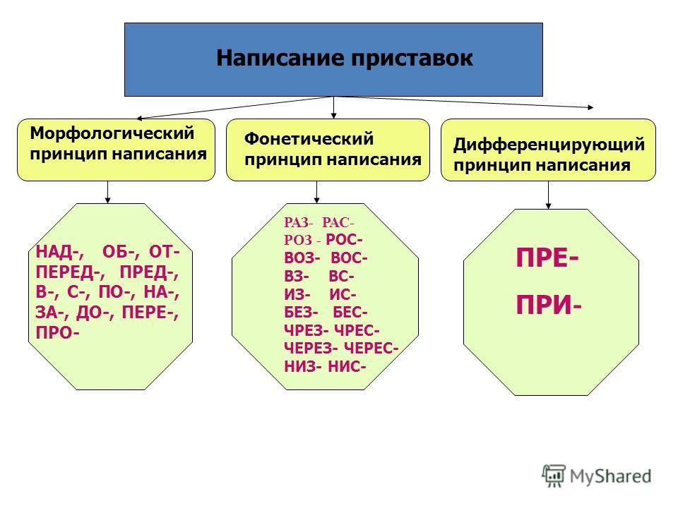 Морфологический принцип написания Фонетический принцип написания Дифференцирующий принцип написания Написание приставок НАД-, ОБ-, ОТ- ПЕРЕД-, ПРЕД-, В-, С-, ПО-, НА-, ЗА-, ДО-, ПЕРЕ-, ПРО- РАЗ- РАС- РОЗ - РОС- ВОЗ- ВОС- ВЗ- ВС- ИЗ- ИС- БЕЗ- БЕС- ЧРЕ