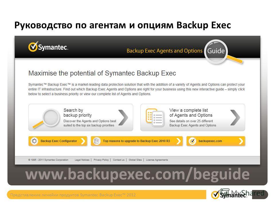 Руководство по агентам и опциям Backup Exec www.backupexec.com/beguide 39 Представление линейки продуктов Symantec Backup Exec 2012