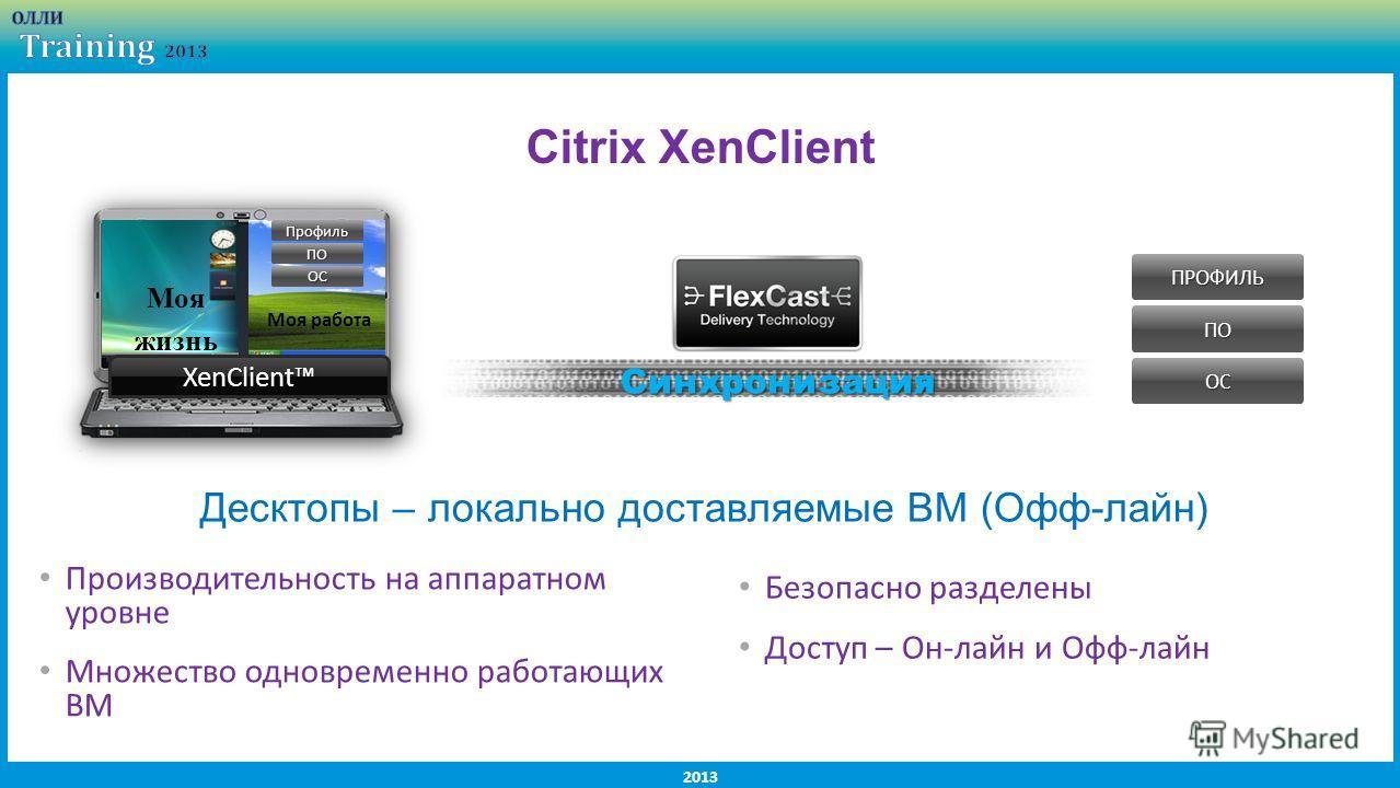 2013 Citrix XenClient XenClientXenClient Моя жизнь Моя работа Синхронизация ПОПРОФИЛЬОС ПОПрофильОС Производительность на аппаратном уровне Множество одновременно работающих ВМ Безопасно разделены Доступ – Он-лайн и Офф-лайн Десктопы – локально доста