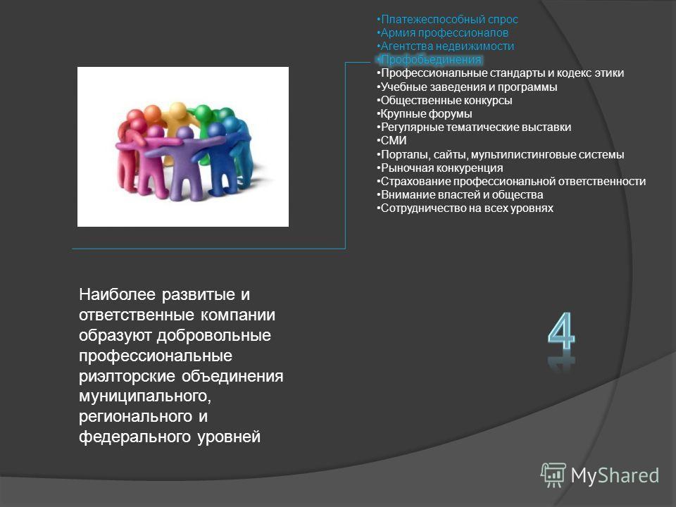 Наиболее развитые и ответственные компании образуют добровольные профессиональные риэлторские объединения муниципального, регионального и федерального уровней