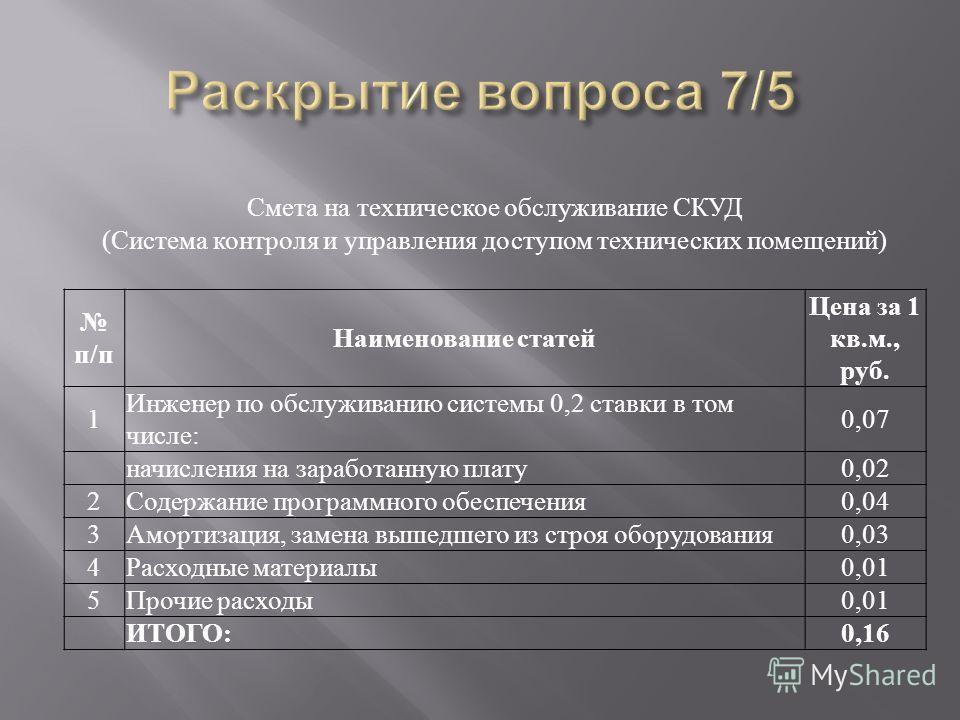 Смета на техническое обслуживание СКУД (Система контроля и управления доступом технических помещений) п/п Наименование статей Цена за 1 кв.м., руб. 1 Инженер по обслуживанию системы 0,2 ставки в том числе: 0,07 начисления на заработанную плату0,02 2С