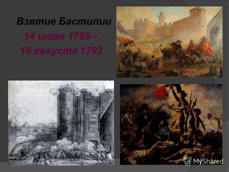 Взятие Бастилии 14 июля 1789 – 10 августа 1792