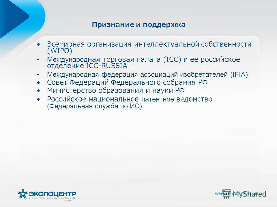 Признание и поддержка Всемирная организация интеллектуальной собственности (WIPO) Международная торговая палата (ICC) и ее российское отделение ICC-RUSSIA Международная федерация ассоциаций изобретателей (IFIA) Совет Федераций Федерального собрания Р