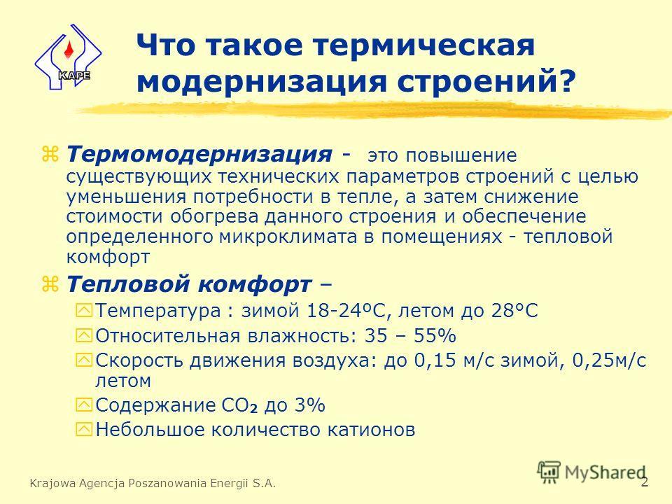 Krajowa Agencja Poszanowania Energii S.A. 2 Что такое термическая модернизация строений? zТермомодернизация - это повышение существующих технических параметров строений с целью уменьшения потребности в тепле, а затем снижение стоимости обогрева данно