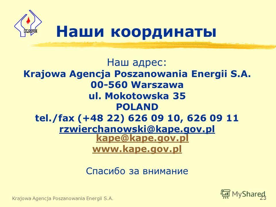 Krajowa Agencja Poszanowania Energii S.A. 23 Наши координаты Наш адрес: Krajowa Agencja Poszanowania Energii S.A. 00-560 Warszawa ul. Mokotowska 35 POLAND tel./fax (+48 22) 626 09 10, 626 09 11 rzwierchanowski@kape.gov.pl kape@kape.gov.pl kape@kape.g