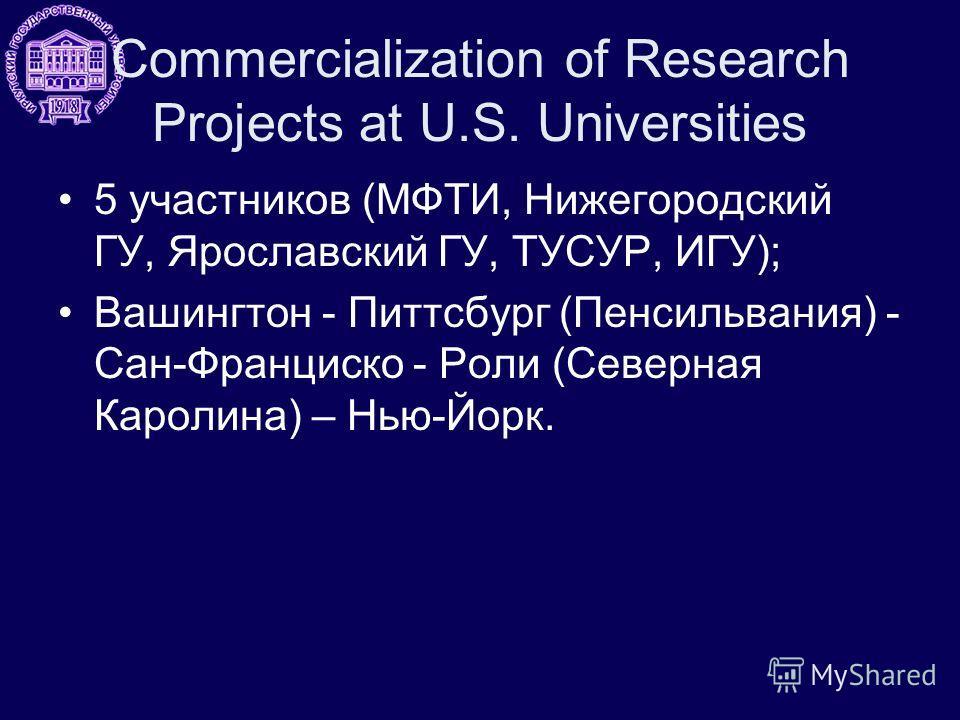 Commercialization of Research Projects at U.S. Universities 5 участников (МФТИ, Нижегородский ГУ, Ярославский ГУ, ТУСУР, ИГУ); Вашингтон - Питтсбург (Пенсильвания) - Сан-Франциско - Роли (Северная Каролина) – Нью-Йорк.