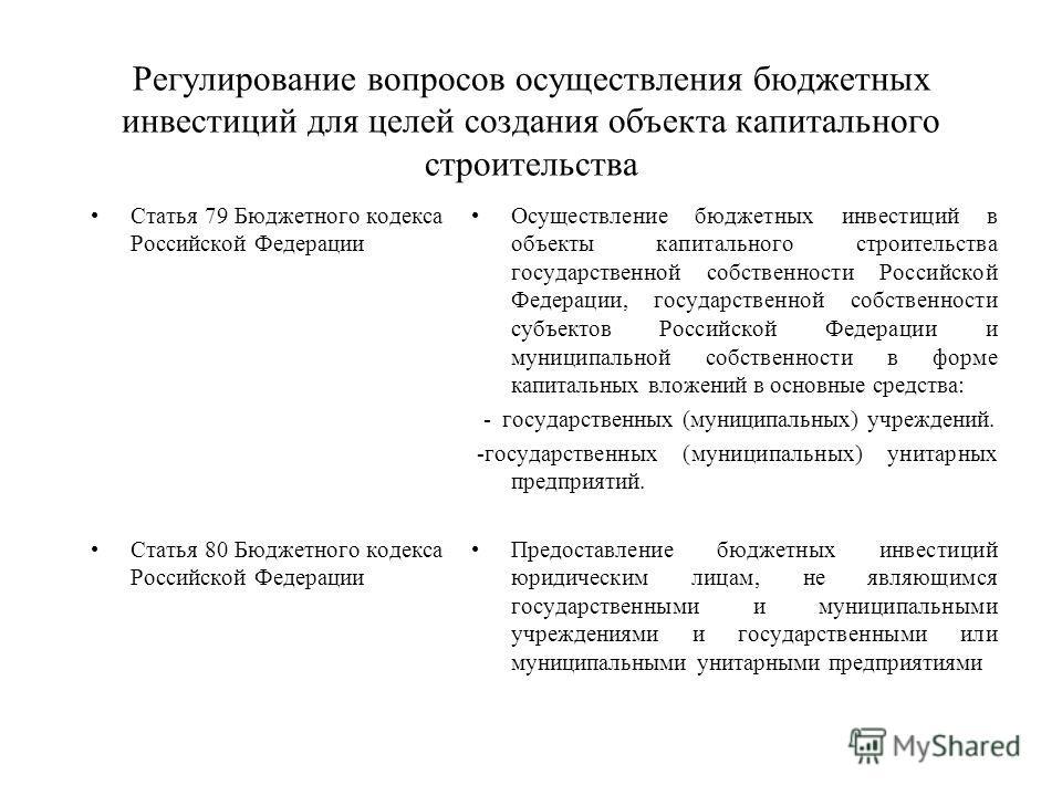 Регулирование вопросов осуществления бюджетных инвестиций для целей создания объекта капитального строительства Статья 79 Бюджетного кодекса Российской Федерации Статья 80 Бюджетного кодекса Российской Федерации Осуществление бюджетных инвестиций в о